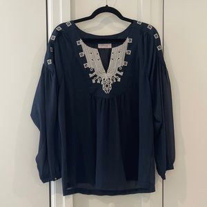 Navy blue flowy blouse, loose fit